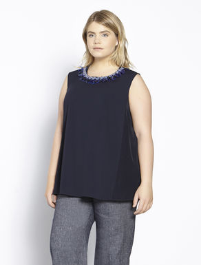 Silk blend top with jewelled collar
