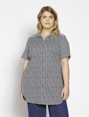 Long printed muslin shirt