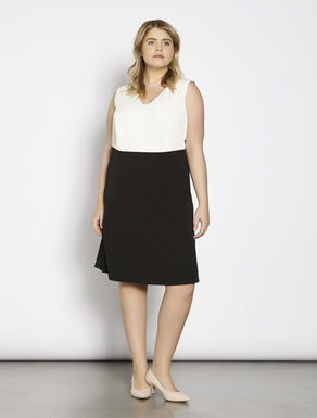 Two-tone technical stretch dress