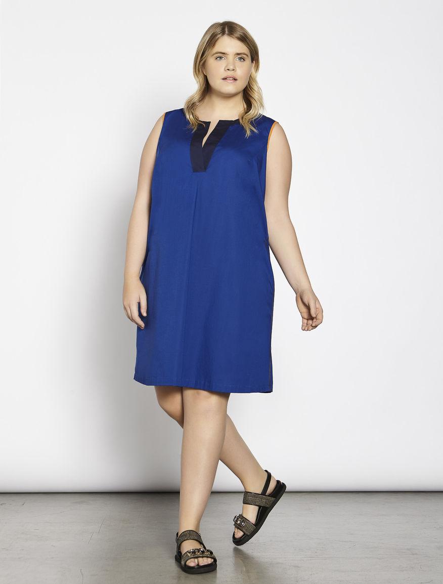 Stretch cotton poplin dress