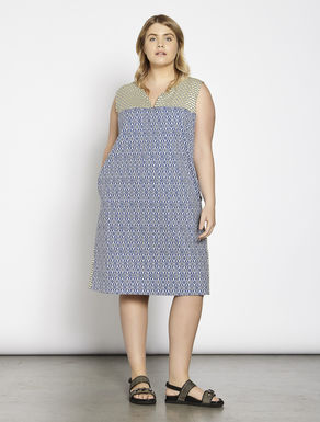 Printed basketweave dress