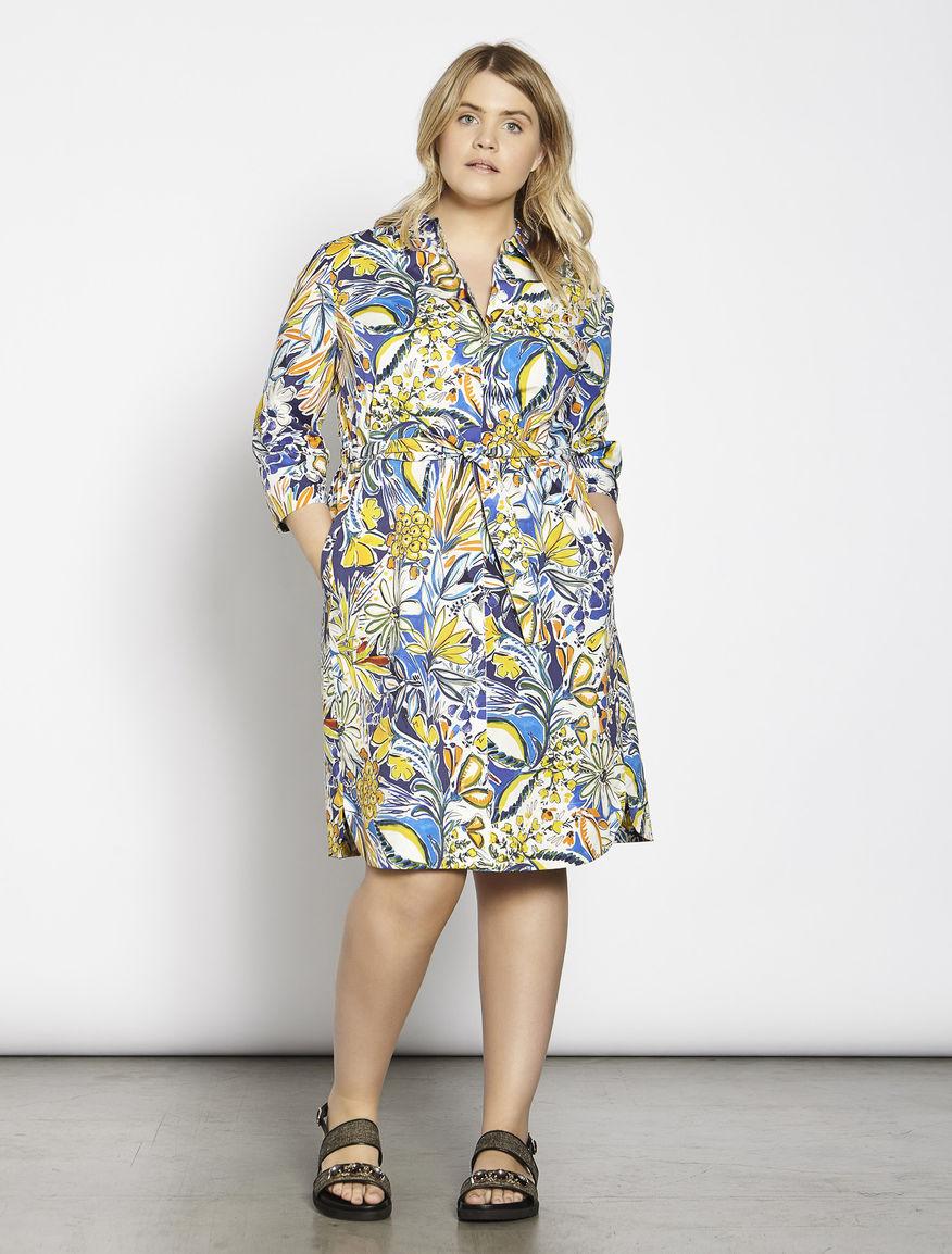 Printed poplin shirt-dress