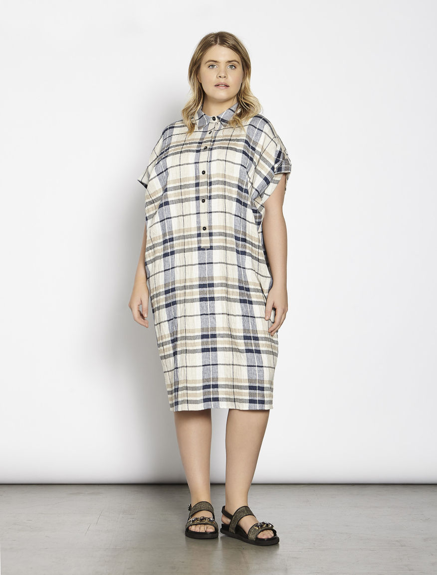Oversize cotton and linen shirt-dress