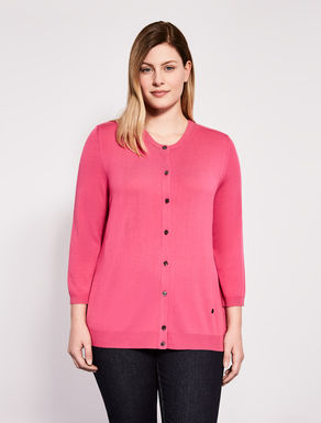 Round-neck stretch viscose cardigan