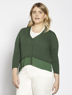 Short viscose and fabric cardigan