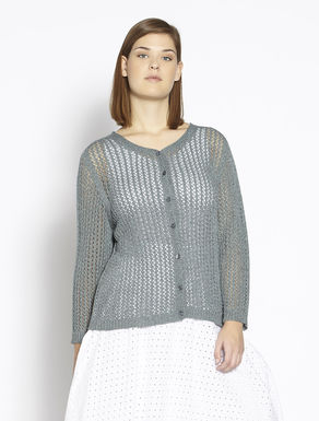 Cardigan traforato in viscosa lurex