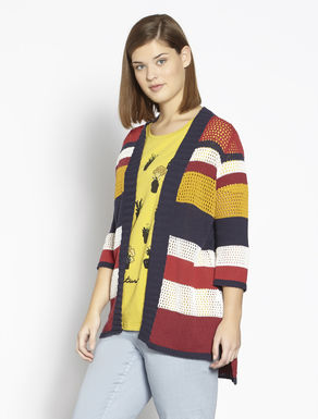 Striped openwork cotton cardigan
