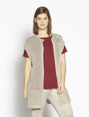 Knitted lurex sleeveless cardigan with flower