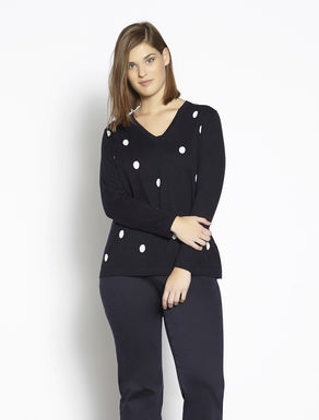 Silk and cotton polka-dot sweater