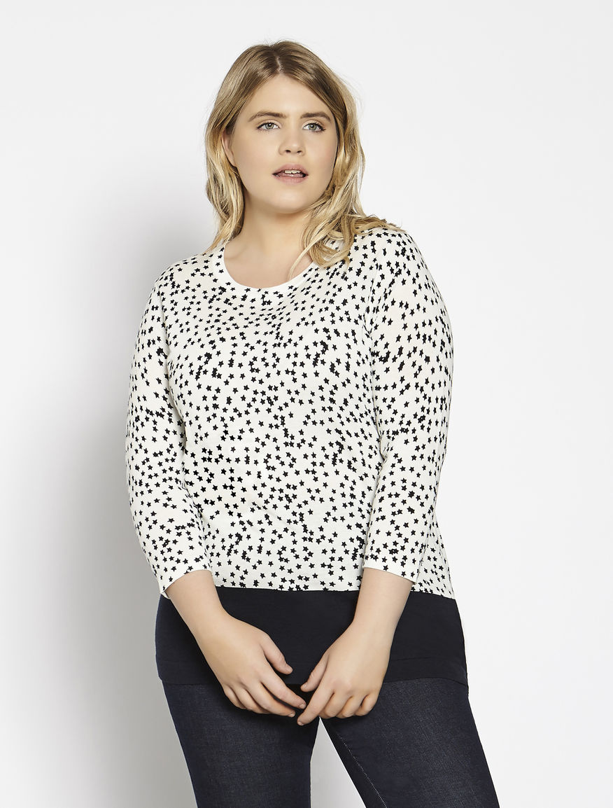 Printed viscose and cotton sweater