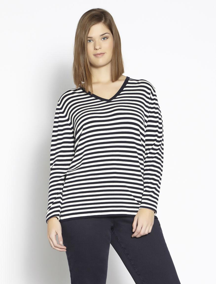 Striped stretch viscose sweater