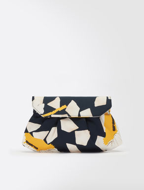 Printed satin clutch bag