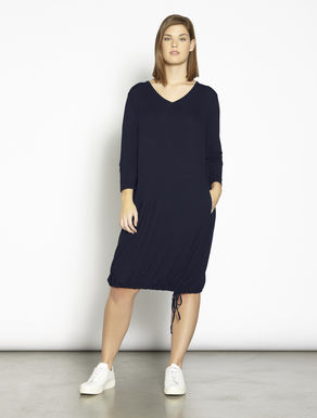 Stretch jersey dress with drawstring