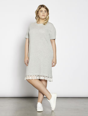 Fleece dress with embroidered tulle