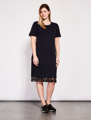 Cotton fleece dress with lace