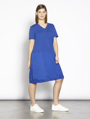 Jersey and cotton dress with drawstring