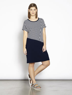 Jersey dress with striped inlay