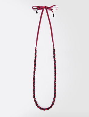Long jet and grosgrain necklace
