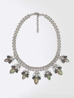 Metal necklace with rhinestones