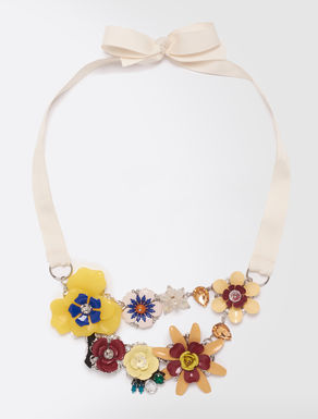 Resin necklace with rhinestones