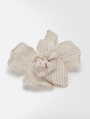Linen flower brooch