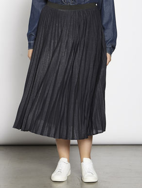 Pleated semi-glossy jersey skirt