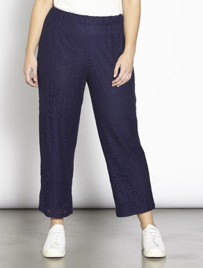 Relaxed-fit jersey lace trousers