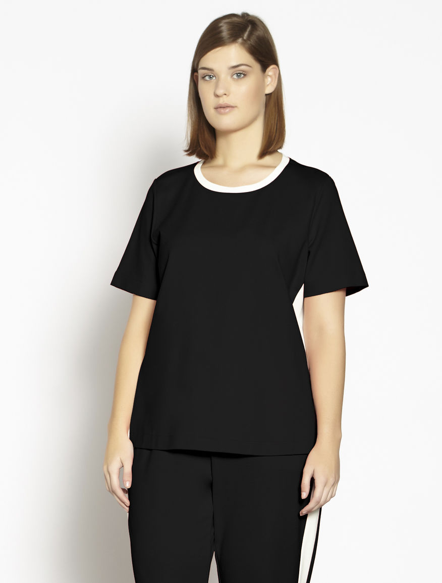 Milano stitch jersey T-shirt with zip