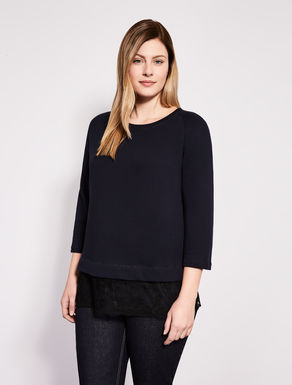 Cotton jumper with lace insert