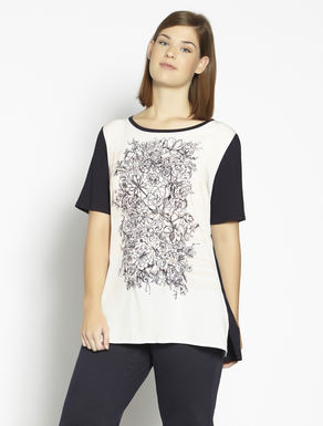 Jersey and printed fabric t-shirt