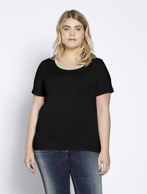 Jersey T-shirt with jewelled collar