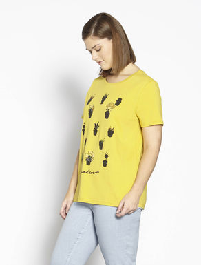 Jersey T-shirt with print and rhinestones