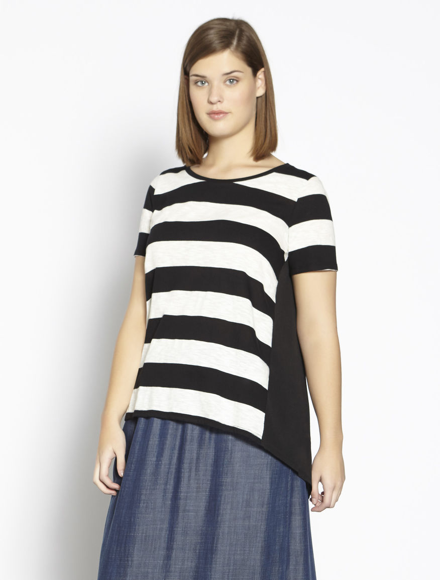 Striped jersey and fabric T-shirt