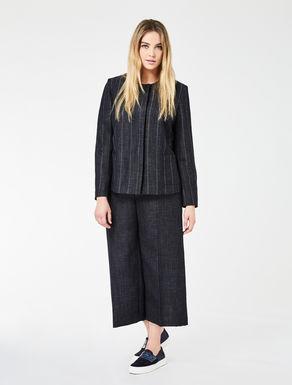 Giacca girocollo in lana e lino