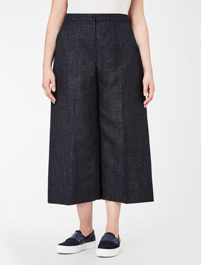 Cropped denim effect trousers