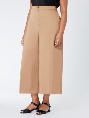 Cropped cotton satin trousers