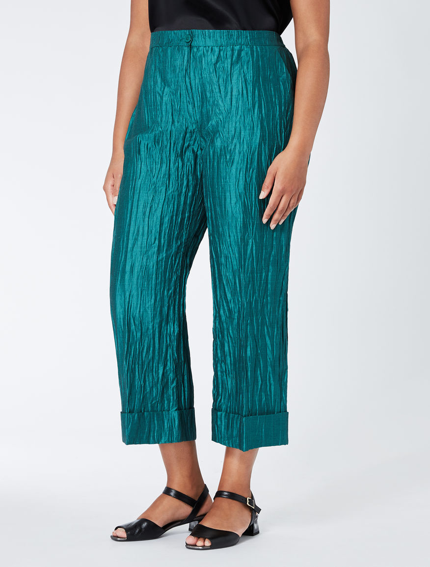 Cropped linen and silk trousers