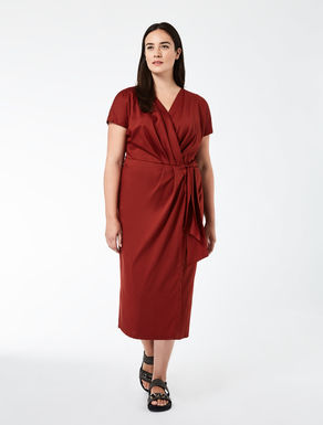 Cotton-satin crossover dress