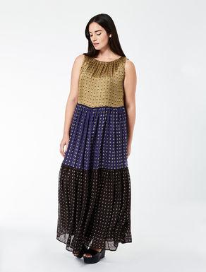 Long flounced dress in lightweight silk