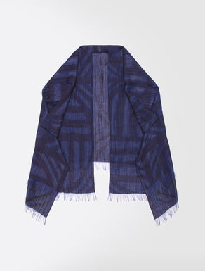 Linen and jacquard silk poncho