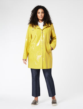 Coated cotton and linen raincoat