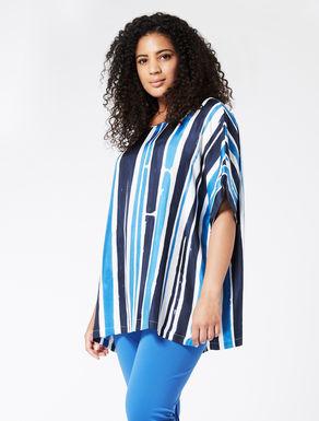 Striped silk twill tunic