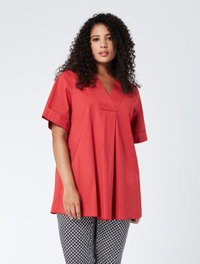 Wide-cut blouse in stretch poplin
