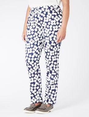 Pantalone slim fit in raso di cotone