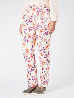 Slim-fit trousers in cotton satin
