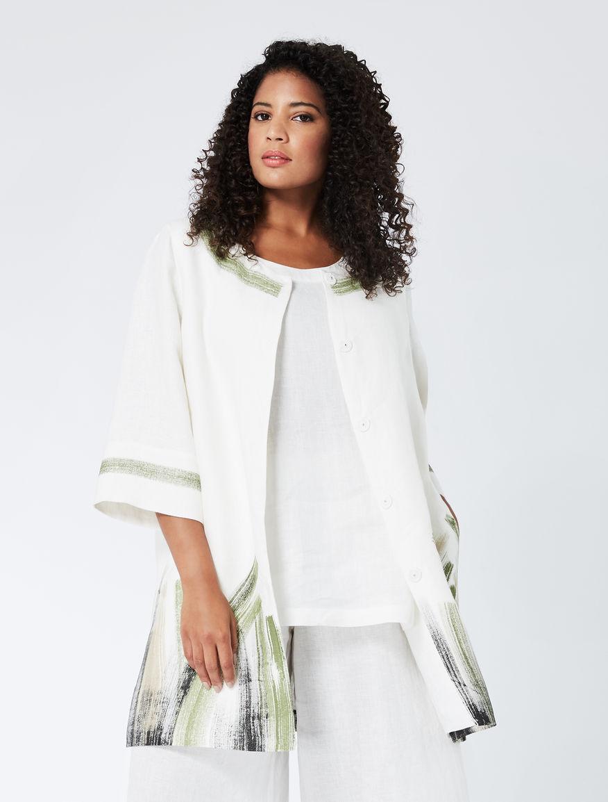 Patterned linen basketweave tunic