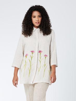 Camicia in tela di lino a fantasia