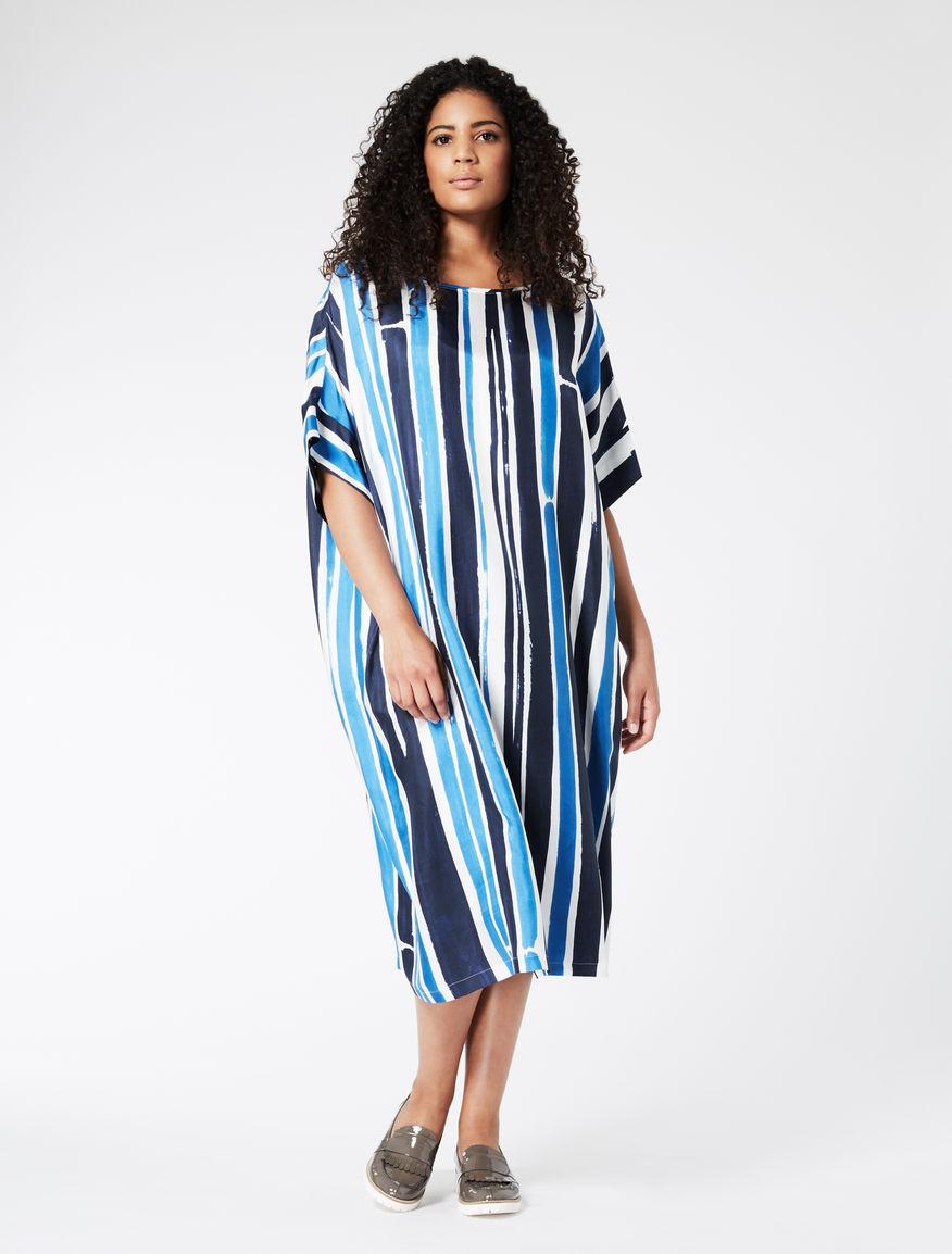 Silk twill tunic dress