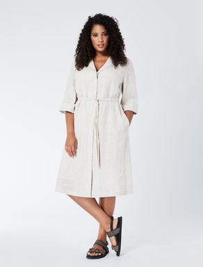 Pure linen shirt-dress