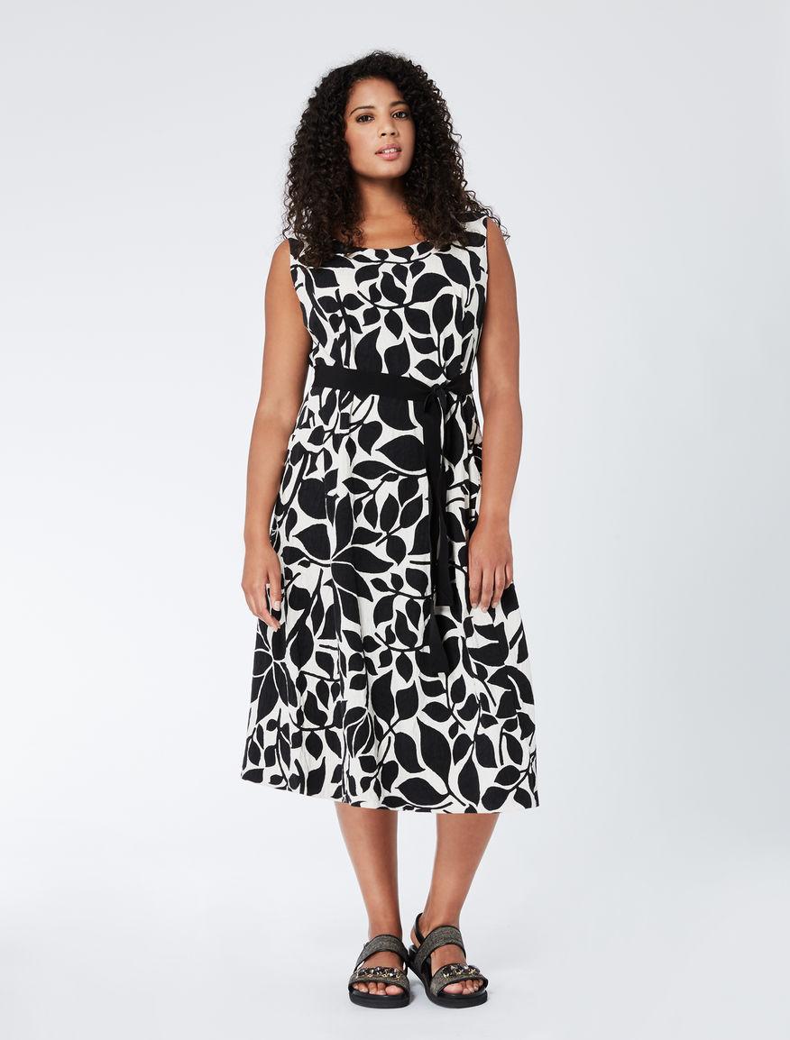 Printed jacquard A-line dress